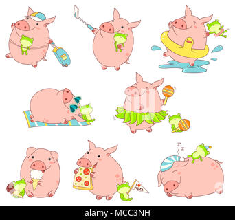Set of cute funny pigs with favorite toy in kawaii style. Making selfie, rests on the beach, sleeps, with luggage, eats pizza and ice cream, dances in - Stock Photo