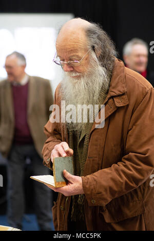 John Goodacre holds a sketchbook by architect Joseph Goddard at the launch of the exhibition to house his work at the now ISKCON Hare Krishna Temple. - Stock Photo