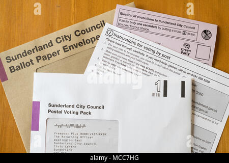 Postal ballot or vote forms from Sunderland City Council, England, UK - Stock Photo