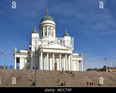 Finnish Evangelical Lutheran cathedral of Diocese of Helsinki, located in neighborhood of Kruununhaka - Stock Photo