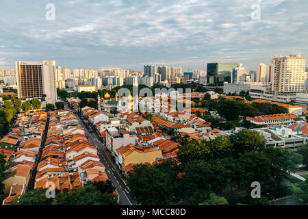 Aerial view of Kampong Glam district, Singapore - Stock Photo