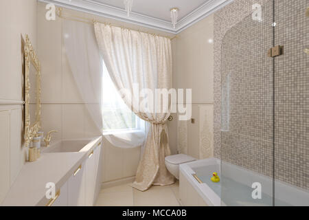 Luxury bathroom interior design in a classic architectural style with beige and gold color. 3d illustration interior design, 3d render - Stock Photo