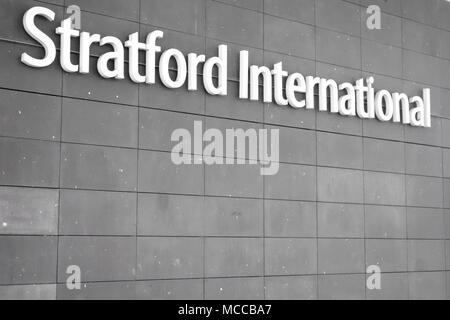 Entrance to Stratford International train station adjacent to Westfield Stratford City Shopping Centre. - Stock Photo
