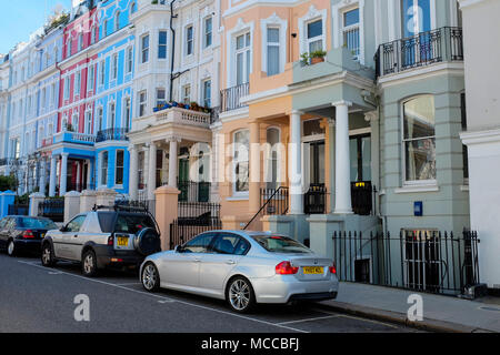 Colourful Houses in Notting Hill, London, UK. - Stock Photo
