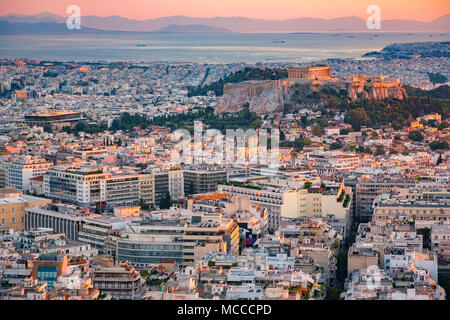 Aerial view on Athens, Greece at sunset - Stock Photo