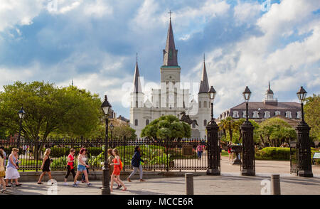 St. Louis Cathedral, Jackson Square, New Orleans, Louisiana, United States. - Stock Photo