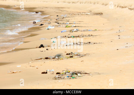 Plastic pollution on a tourist beach in Cambodia - Stock Photo
