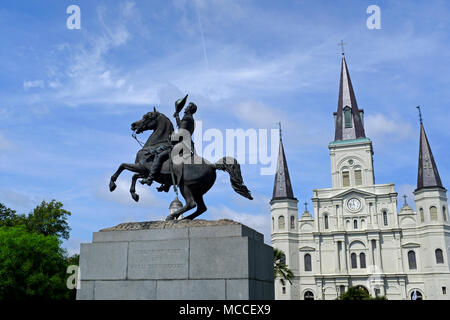 Statue of General Andrew Jackson in Jackson Square with Saint Louis Cathedral in the background - Stock Photo