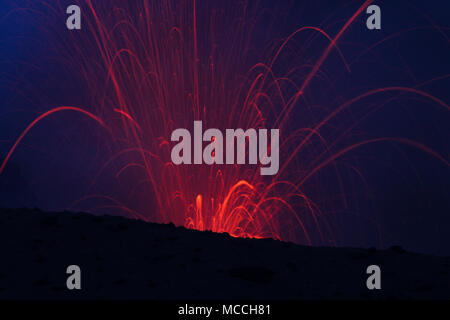 Volcanic erruption - Mount Yasur - Tanna Island Vanuatu. This volcano on the small tropical island is one of the most accesible in the world. It is a  - Stock Photo