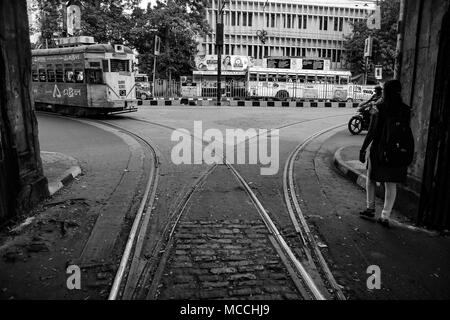 tram approaching in a tram track junction depot in street of kolkata, black and white, Kolkata, India, 2017 - Stock Photo