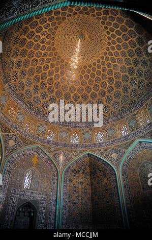 Sheikh Lotfollah mosque, ceiling - Isfahan, Iran - Stock Photo