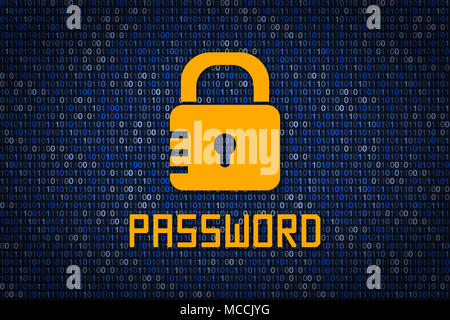 Strong password encription. Data protection from hacking. Cyber security. Data encryption. Protect information in network and Internet. Firewall. Hack - Stock Photo
