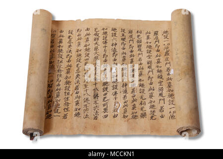 Old japanese manuscript book scroll isolated on white background with drop shadow - Stock Photo
