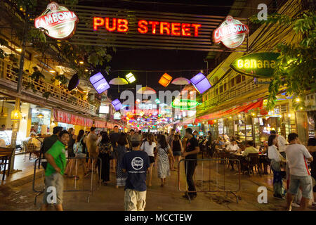 Crowds of tourists in Pub Street, Siem Reap town at night, Siem Reap, Cambodia Asia - Stock Photo