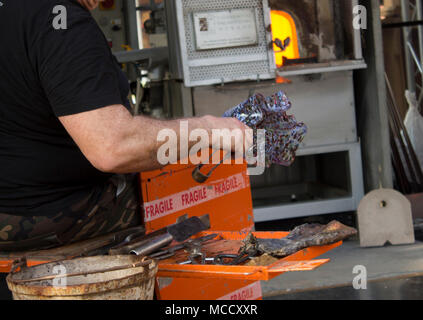 Glassmaker , manufacturing glass products from Venetian glass.Venice.Italy - Stock Photo