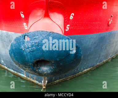 close up of mushroom anchor on the historic US Lightship Chesapeake at the waterline in Baltimore's Inner Harbor - Stock Photo