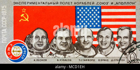 Minsk, Belarus - January 2, 2014: Image From Stamp Printed In The Soviet Union. Theme Of Experimental Flight Of The Ships 'Union' And 'Apollo', Circa  - Stock Photo