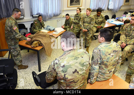U.S. Army Sgt Manuel Ivan Cervantes, animal care NCO, USARMY MEDCOM PH-E , demonstrate how preventing hypothermia during training Public Health Activity Italy Animal Care Specialists at Caserma Pluto, Longare, Vicenza, 12 Feb. 2018. Once the animal is intubated their heart and respiratory rate, blood oxygenation rate and carbon dioxide levels are monitored to make sure they're not too excessively sedated during surgery. (U.S. Army Photo by Paolo Bovo) - Stock Photo