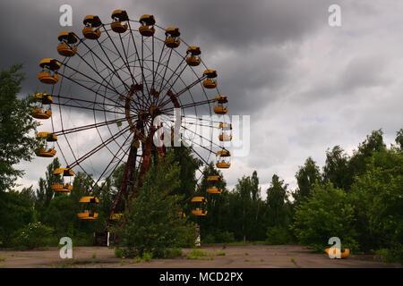 Chernobyl ferris wheel. Pripyat, Chernobyl Amusement Park, Ukraine. - Stock Photo