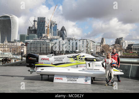 London UK 16 April 2018  Marit Stromoy  Norwegian professional powerboat driver and the first ever woman to win a Formula 1 World Championship Grand Prix in Sharjah, UAE in 2015. Philippe Chiappe – French professional powerboat driver for CTIC F1 Shenzhen China Team, and one of only three drivers to claim a hat-trick of Formula 1 World Championship titles (2014, 2015 & 2016). Credit: Paul Quezada-Neiman/Alamy Live News