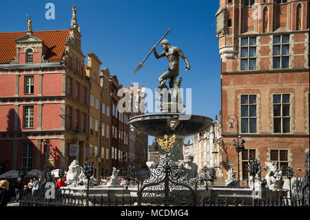 Flemish mannerist Fontanna Neptuna (Neptune's Fountain) and Gothic Ratusz Glownego Miasta (Gdansk Main Town Hall) on Dlugi Targ (Long Market) in Main  - Stock Photo
