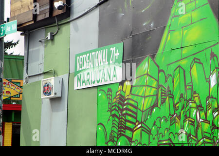 Marijuana corner store in a Seattle neighborhood. - Stock Photo