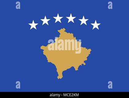 Flag of Kosovo official colors and proportions, vector image - Stock Photo