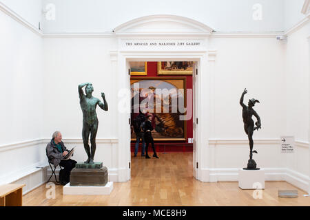 An artist sketching a statue of Mercury in Leeds art gallery - Stock Photo