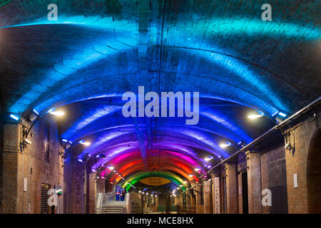 The tunnels under Leeds railway station that are now part of Granary Wharf a new entertainment complex in the heart of Leeds. - Stock Photo