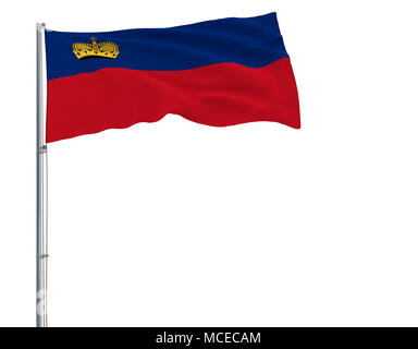 Isolate flag of Liechtenstein on a flagpole fluttering in the wind on a white background, 3d rendering - Stock Photo