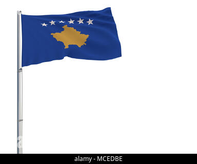 Isolate flag of Kosovo on a flagpole fluttering in the wind on a white background, 3d rendering - Stock Photo