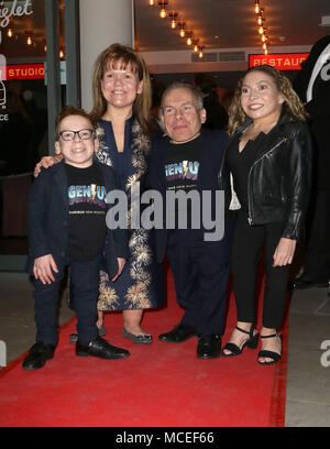 Jan 31, 2018  - Warwick Davis, Samantha Davis, Annabelle Davis and LLoyd Davis attending Eugenius! Gala Performance, The Other Palace Theatre in Londo - Stock Photo