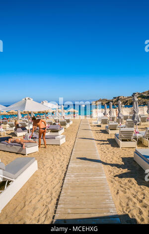 Super Paradise Beach. Mykonos Island. Ciclades Islands. Greece - Stock Photo