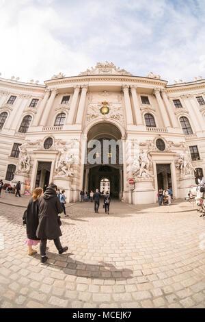 Michaelertor Gate leading into the Hofburg palace, Vienna, Austria - Stock Photo