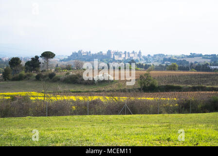 Spring fields with the City of Carcassonne in the distance, Aude, France - Stock Photo