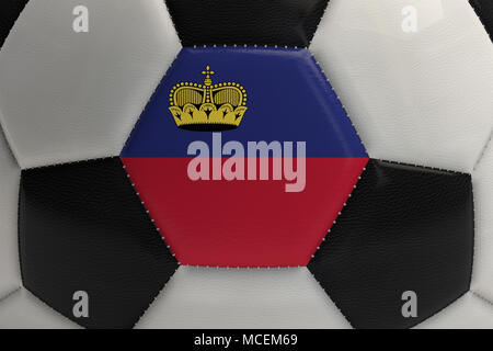 Close up of a soccer ball with Liechtenstein flag. 3D Rendering - Stock Photo