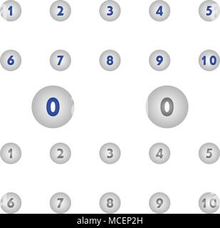 Number icons circle. vector illustration. flat style - Stock Photo