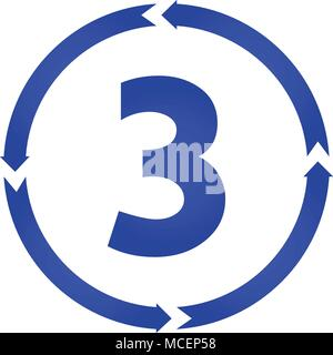 Number 3 sign turn icon. vector illustration. flat style - Stock Photo