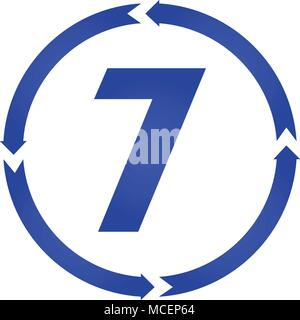 Number 7 sign turn icon vector illustration. flat style - Stock Photo