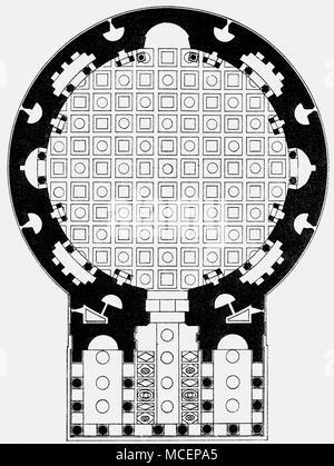 Ground plan of the Pantheon, Rome, Italy - Stock Photo