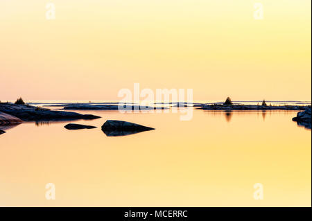 A beautiful golden sunset in Georgian Bay - Stock Photo