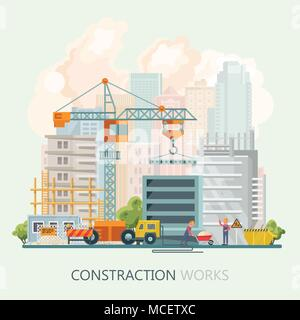 Construction vector flat illustration. Building poster in modern style. Colorful industry template - Stock Photo