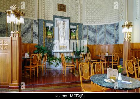 Prague Cafe Inside, Art Nouveau Cafe in Obecni Dum, Municipal House Prague, Czech Republic, Europe - Stock Photo