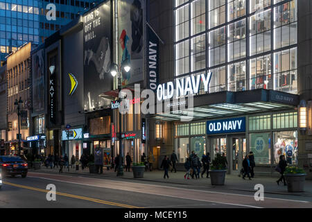 Old Navy and other brands in the Herald Square area in New York on Tuesday, April 10, 2018.  (© Richard B. Levine) - Stock Photo