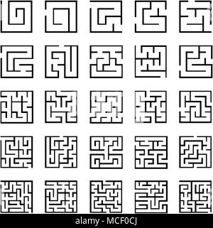 Set of outlined maze icons with different difficulty - Stock Photo