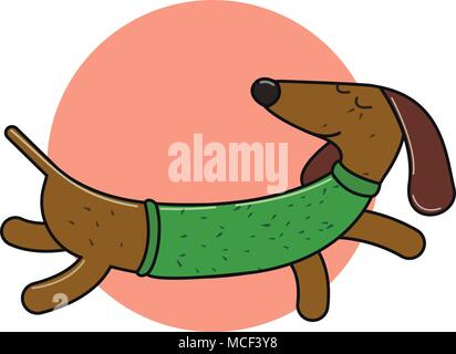 Long dachshund character. An isolated dog for your design. vector sign or banner - Stock Photo