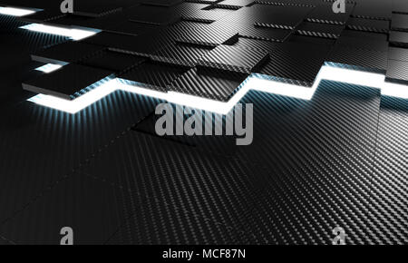 light and carbon fiber tiles 3d rendering image background - Stock Photo