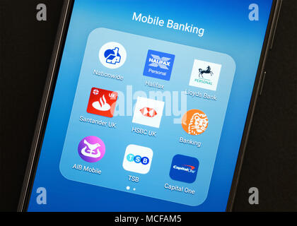 Banking Apps on a Smartphone, UK - Stock Photo