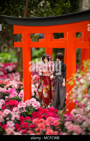 Japanese lover dolls in Spring Festival celebrating new start, love and happiness - Stock Photo