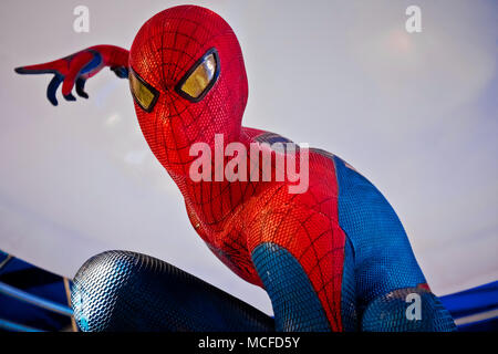 Figure of famous super hero spiderman in the shop. Spider-Man is a fictional superhero in American comic books published by Marvel Comics - Stock Photo